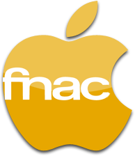 Logo da Fnac junto do da Apple