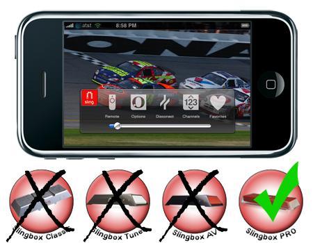 SlingMedia for iPhone e modelos incompatíveis