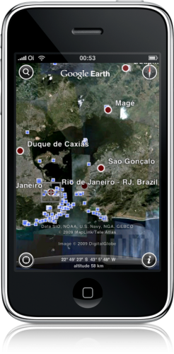 Places no Google Earth do iPhone