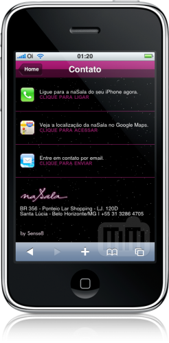 Site da naSala no iPhone