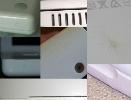 Montagem com diversas fotos de MacBooks com cases rachadas