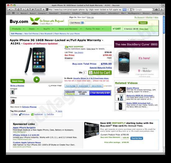 Unlocked iPhone 3G at Buy.com