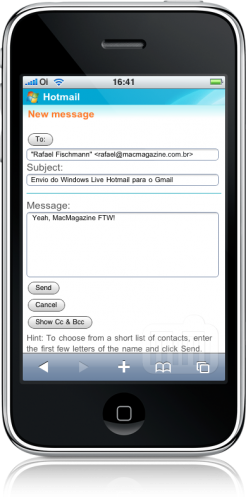 Windows Live Hotmail vs. Gmail no iPhone