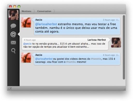 Testando o Tweetie (Conversas)
