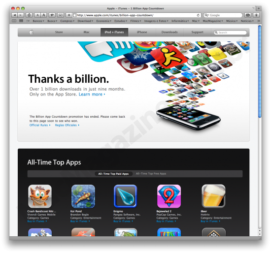 Um bilhão de apps baixados da iPhone App Store