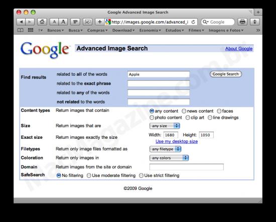 Busca de wallpapers no Google