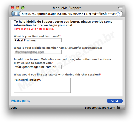 MobileMe Live Chat Support