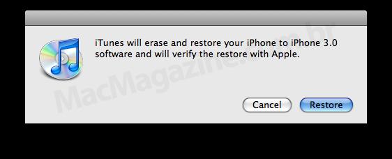 Restore do iTunes 8.2 Pre-release