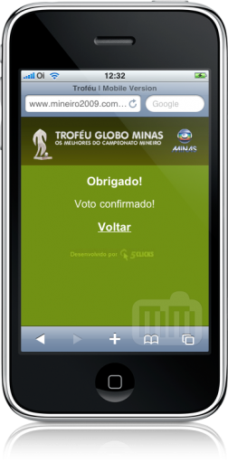 Troféu Globo Minas no iPhone