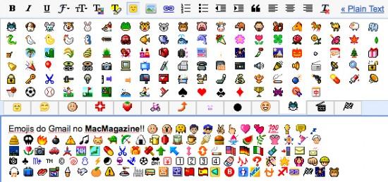 Emoji no Gmail