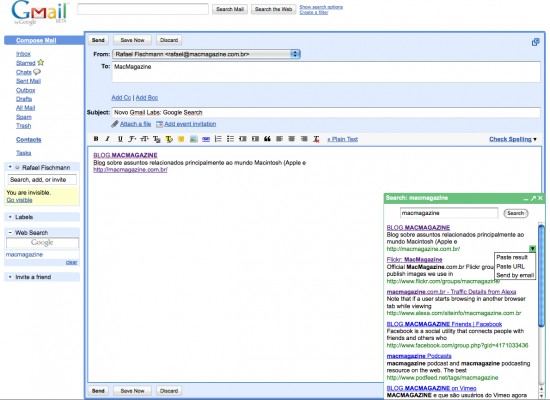 Google Web Search no Gmail Labs
