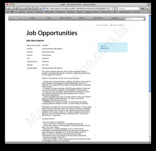 Vaga de emprego indica MacBooks com 3G?
