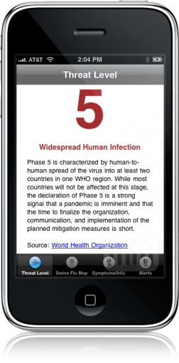 Swine Flu Tracker no iPhone