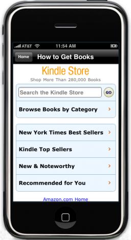 Nova Amazon.com Kindle Store no iPhone