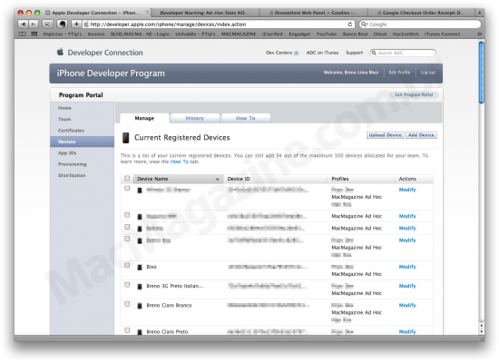 Lista de devices Ad Hoc do iPhone Developer Program
