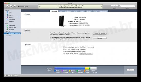 Sincronização de um iPhone no iTunes 8.2