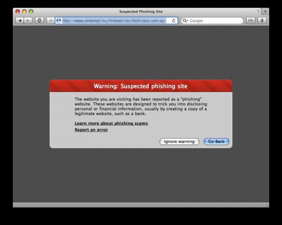 Proteção contra Phishing no Safari 4