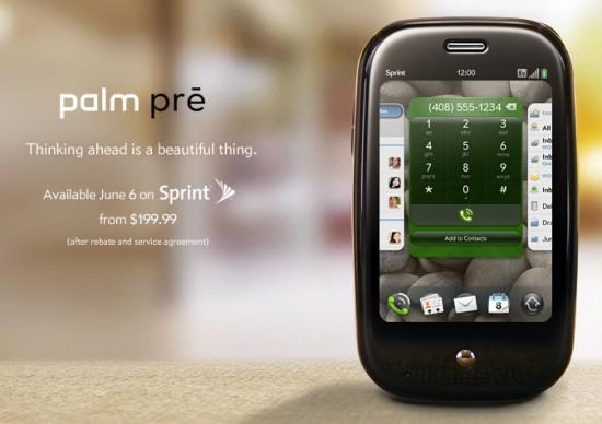Palm Pre na Sprint dia 6 de junho