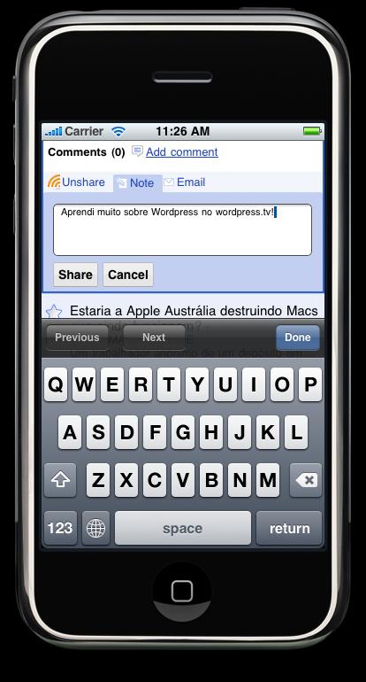 Google Reader no Mobile Safari - notas