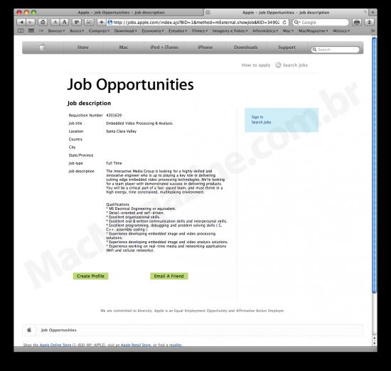 Vaga de emprego na Apple