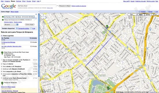 Rotas alternativas no Google Maps