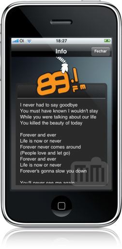 Rádio 89 FM no iPhone