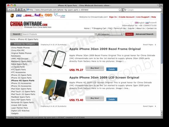 Site vendendo partes para o iPhone de quarta geração
