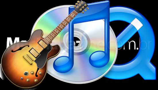 Ícones do GarageBand, iTunes e QuickTime