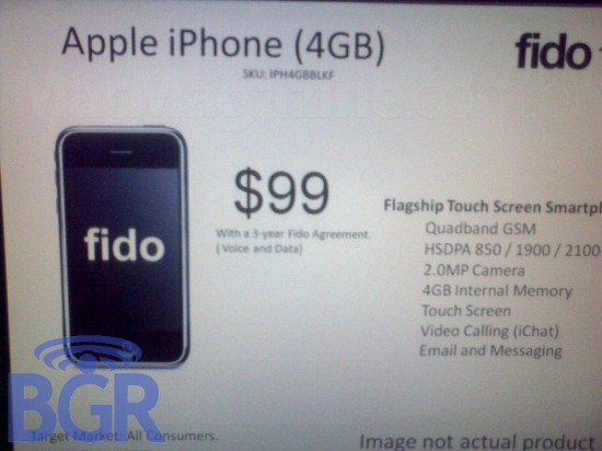 iPhone 4GB pela Fido