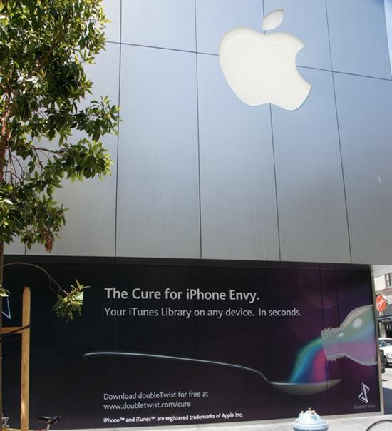 doubleTwist em frente à Apple Store (?)