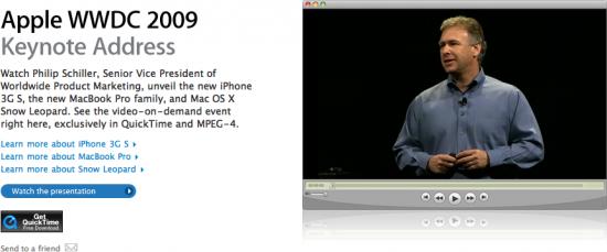 Keynote da WWDC '09 no QuickTime