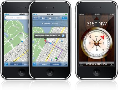 iPhone 3GS com bússola