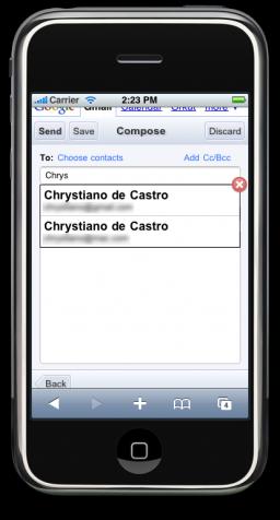 Gmail mobile com auto-completar