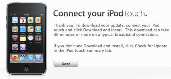 Confirmação do iTunes para conexão do iPod touch