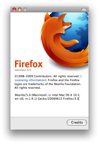About do Firefox 3.5 RC1