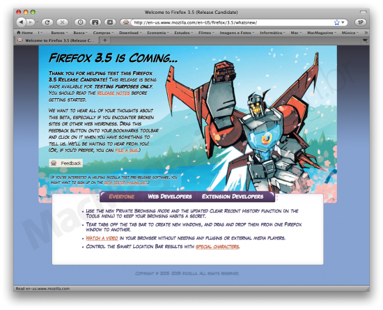What's New do Firefox 3.5 RC1