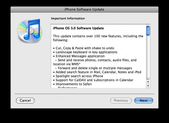 Update iPhone OS 3.0