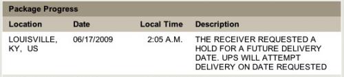 Log de entrega do iPhone na UPS