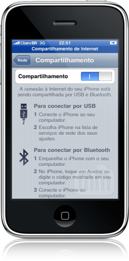 iPhone com tethering