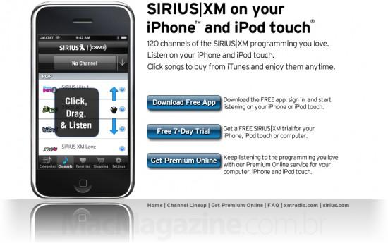 SIRIUS XM para iPhone e iPod touch