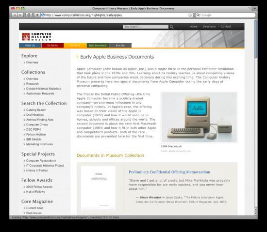 Site do Computer History Museum