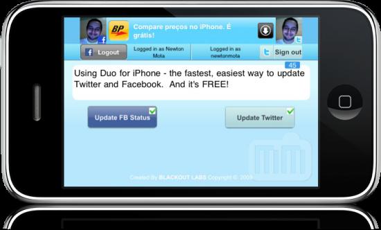 Tela inicial do Duo