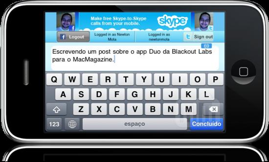 Atualizando redes sociais pelo Duo