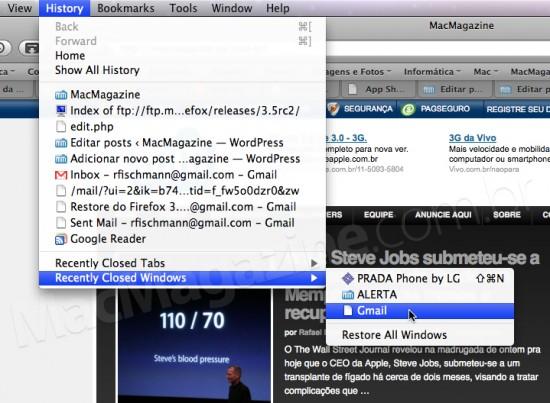 Reabrir janelas fechadas no Firefox 3.5