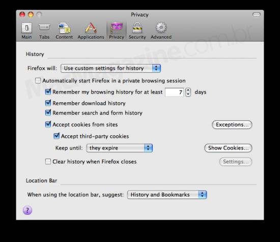 Preferências de privacidade do Firefox 3.5