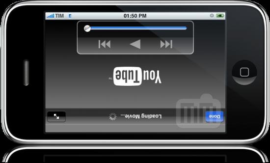 YouTube de cabeça pra baixo no iPhone