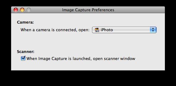 Preferências do Image Capture