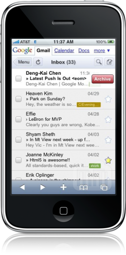 Swipe to archive no Gmail do iPhone