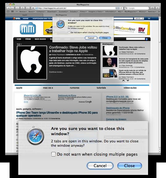 Tab em botões no Mac OS X