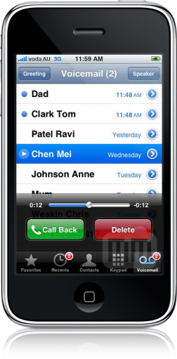 Visual Voicemail no iPhone